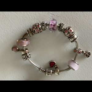 Authentic Pandora Bracelet and 15 Charms